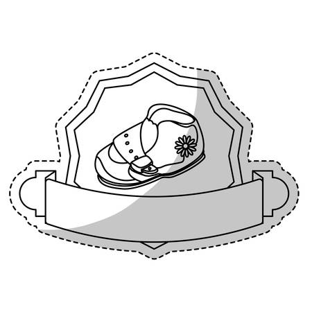 baby seal: seal stamp with baby shoe icon over white background. vector illustraiton