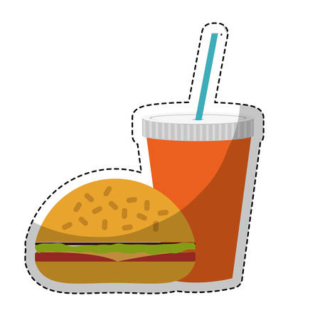 hamburger icon over white background. fast food concept. colorful design. vector illustration Illustration