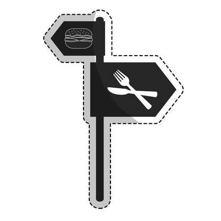 fast food road sign icon over white background. vector illustration
