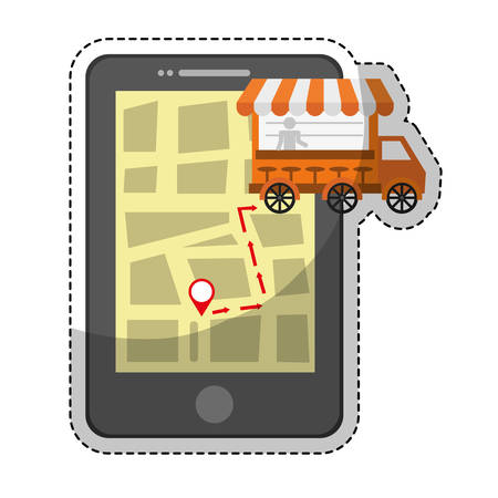 fas: smartphone device with fas food truck icon over white background. colorful design. vector illustration Illustration