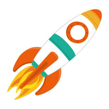 lift up: space rocket vehicle icon over white background. colorful design. vector illustration Illustration