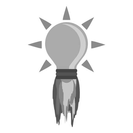 bulb light with fire flames on launching icon over white background. vector illustration