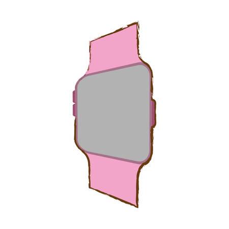 pink smart watch wearable modern device vector illustration eps 10