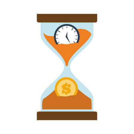sand dollar: clock glass sand business clock money vector illustration eps 10