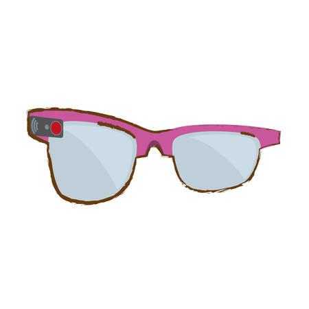 augmentation: pink ar smart glasses device virtual vector illustration eps 10