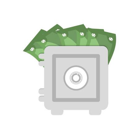cash box: save box money cash bills vector illustration eps 10