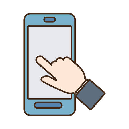 smartphone hand: smartphone hand touch payment digital vector illustration eps 10