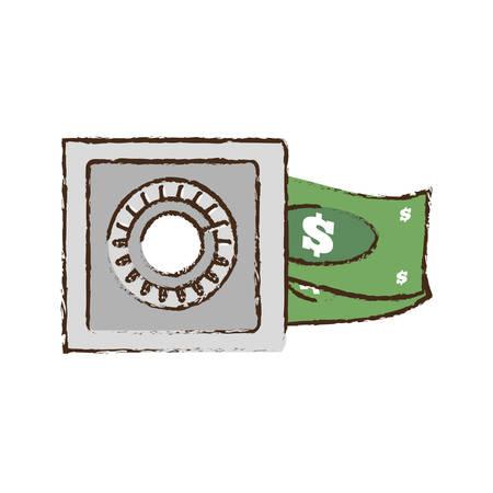 cash box: drawing save box money cash bills vector illustration eps 10