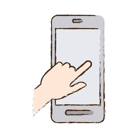 smartphone hand: smartphone hand touch payment digital sketch vector illustration eps 10