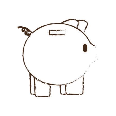 piggy save money bank sketch vector illustration eps 10