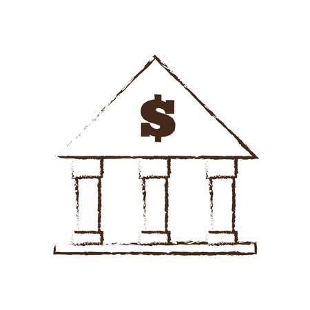 building sketch: building bank money finance sketch vector illustration eps 10
