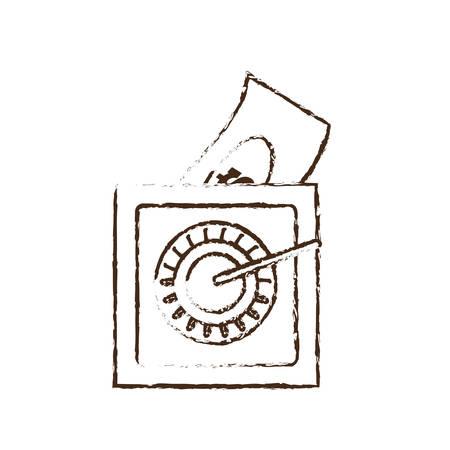 cash box: save box money cash bills sketch vector illustration eps 10