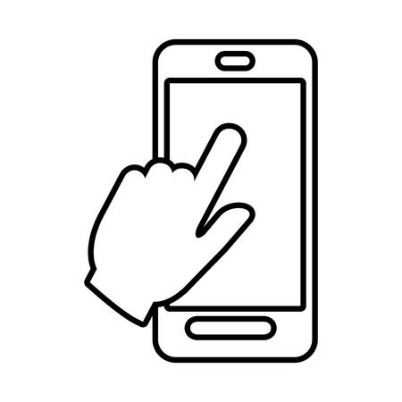 smartphone hand: smartphone hand touch payment digital line vector illustration eps 10 Illustration