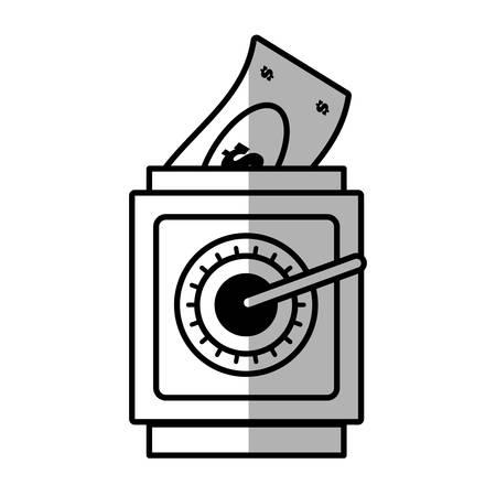 cash box: save box money cash bills shadow vector illustration eps 10