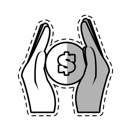 hand holding coins money safe cut shadow vector illustration eps 10 Illustration