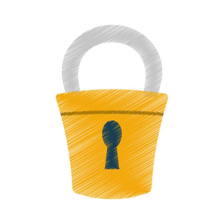 hand draw padlock lock security money color vector illustration eps 10 Illustration