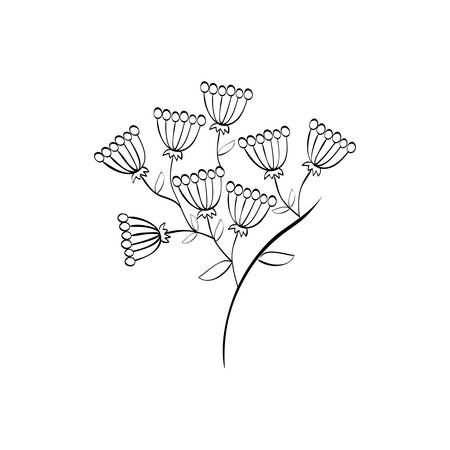 Beautiful flower in black and white icon vector illustration graphic design