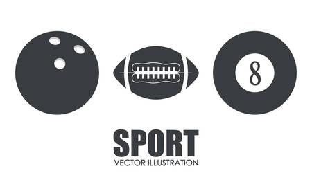 footbal: bowling american footbal pool assorted sport balls related icons emblem image vector illustration design Illustration