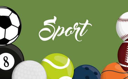 pool player: football soccer pool golf tennis bowling basketball baseball assorted sport balls related icons emblem image vector illustration design