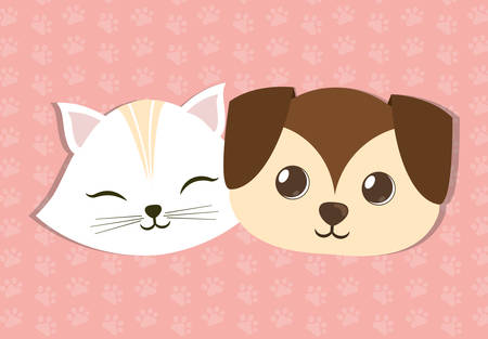 trusting: dog and cat pet related icon image vector illustration design