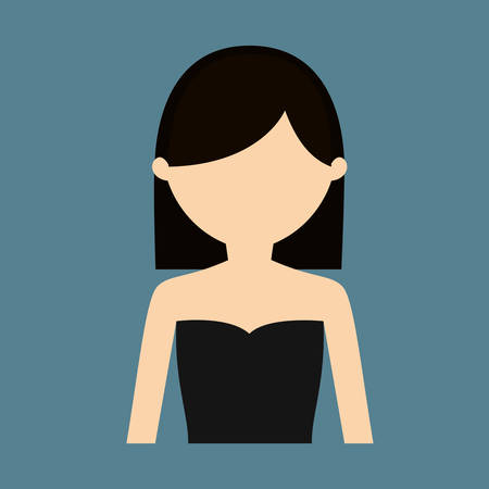 strapless: woman with strapless top portrait icon image vector illustration design Illustration