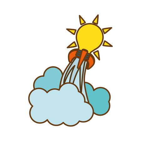 bulb light launching icon over white background. start-up concept. colorful design. vector illustration