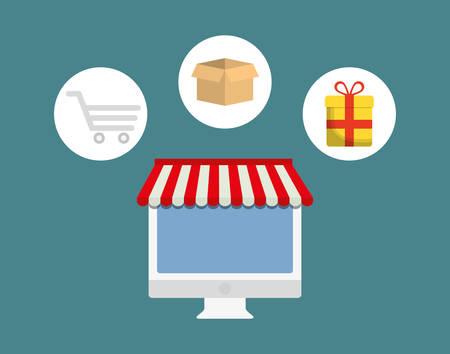 enveloped: shopping buy digital marketing vector illustration graphic design Illustration