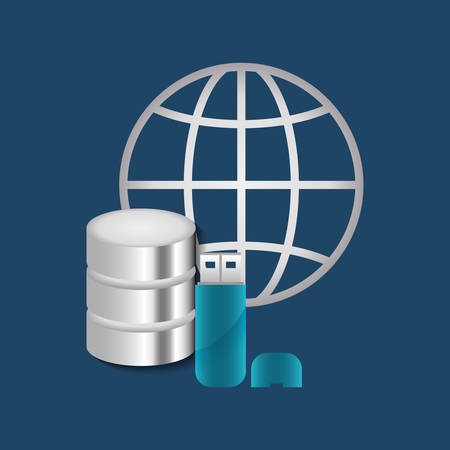 usb memory: Cloud computing technology icon vector illustration graphic design Illustration