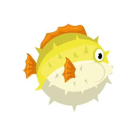 mar icono de pez globo de dibujos animados ilustración vectorial de diseño gráfico