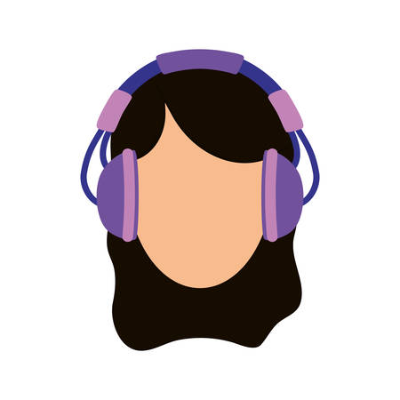 Young person with headphones icon vector illustration graphic