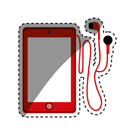 earphone: Mobile smartphone technology icon vector illustration graphic Illustration