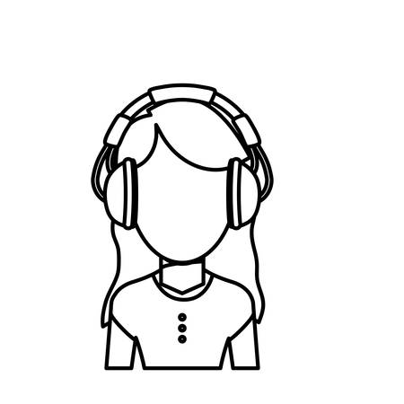 earphone: Young person with headphones icon vector illustration graphic