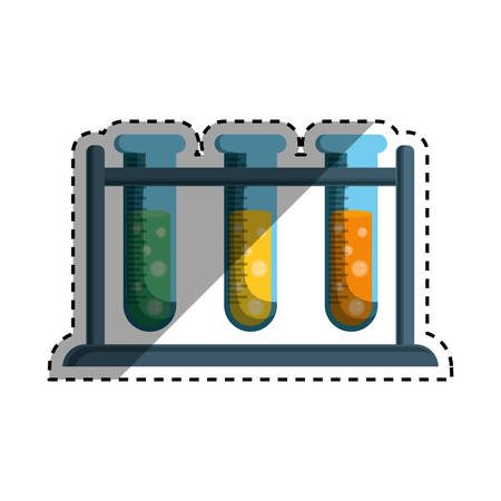 yellow lab: Flask chemistry lab icon vector illustration graphic design