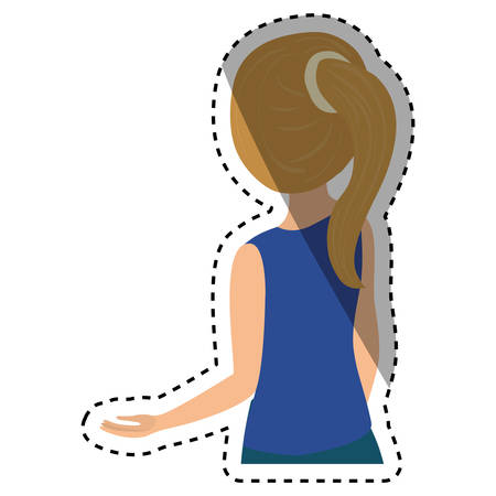 woman back of head: Young woman body icon vector illustration graphic design