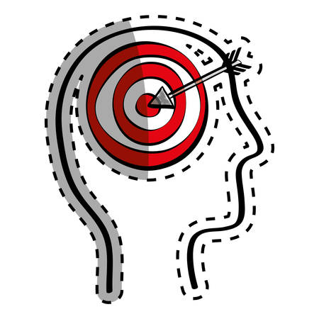 Human head with target inside icon vector illustration graphic design