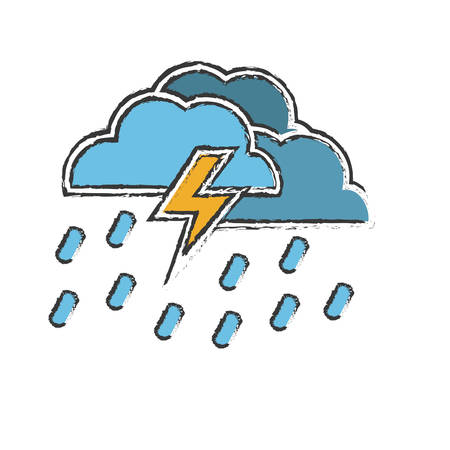 predicting: electric storm weather related icon image vector illustration design
