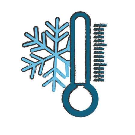 snowflake and thermometer weather related icon image vector illustration design