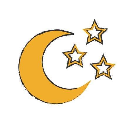 crescent moonwith stars icon image vector illustration design Illustration