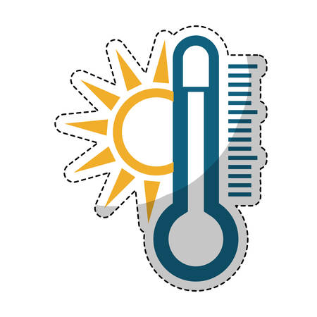 sun and thermometer weather related icon image vector illustration design