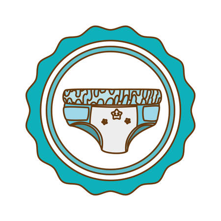 diaper baby shower related emblem image vector illustration design