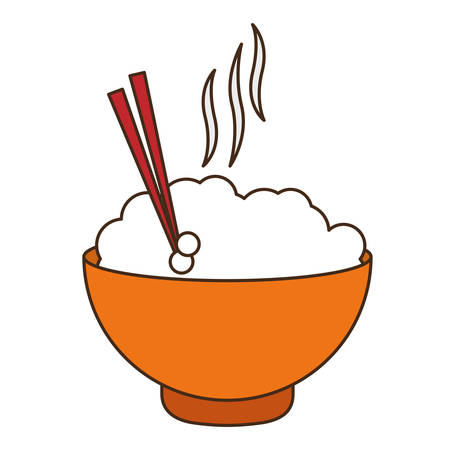rice bowl fast food related icon image vector illustration design