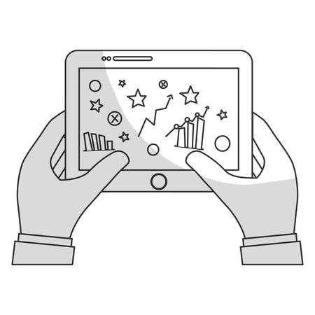 palmtop: hands holding tablet with graphs on screen icon image vector illustration design Illustration