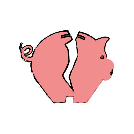 damaged: Piggy money savings vector illustration graphic design