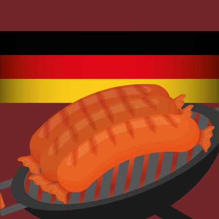 german sausage: Sausage german food icon vector illustration graphic design
