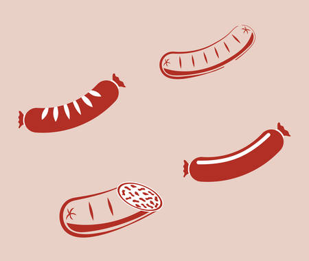 comida alemana: Icono de los alimentos ilustración vectorial alemán salchichas diseño gráfico