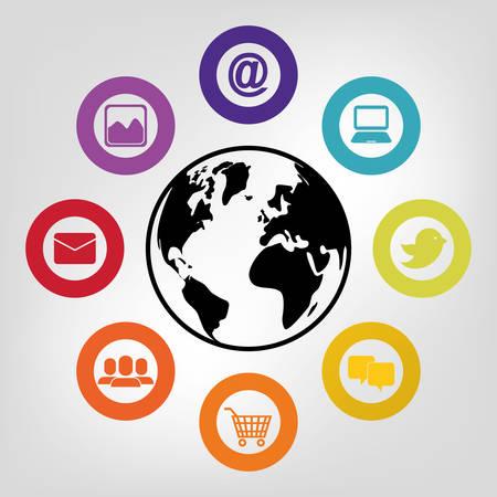 socializando: Los medios sociales y el diseño gráfico icono ilustración vectorial de redes Vectores