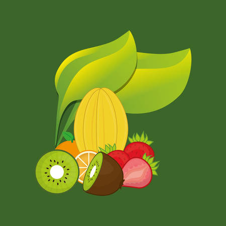 delicious fresh fruits icon vector illustration graphic design Illustration