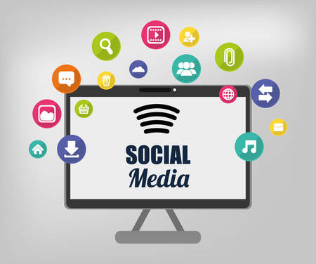 socialising: Social media and networking icon vector illustration graphic design