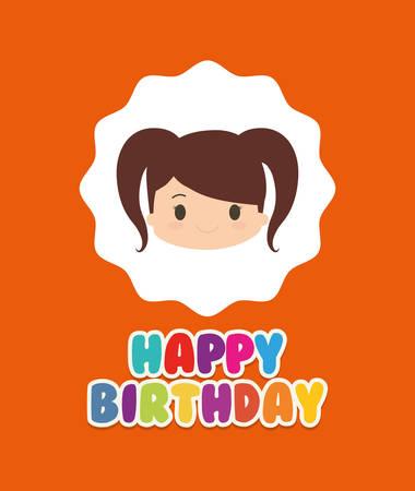 Happy birthday kid cartoon icon vector illustration graphic design