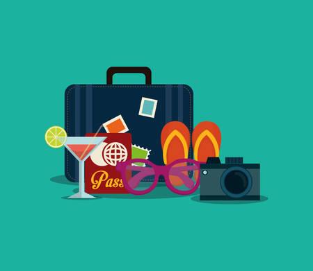 summer vacation travel icon vector illustration graphic design Illustration